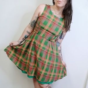 MODCLOTH Something Sixties Dress Plaid Linen Blend